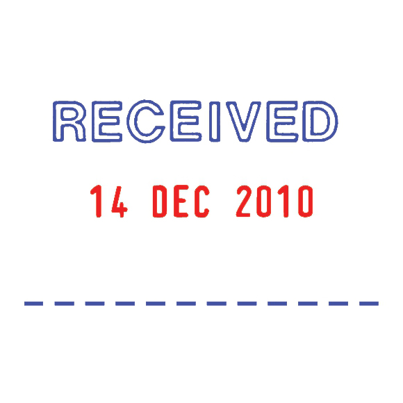Trodat Professional 5440/L Word/Date Stamp Textplate Stock Text in Blue Date in Red Ref 121427
