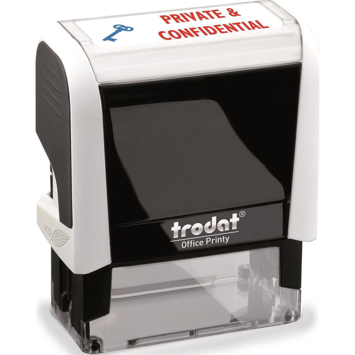 Trodat Office Printy Stamp Self-inking PRIVATE & CONFIDENTIAL 18x46mm Reinkable Red and Blue Ref 77307