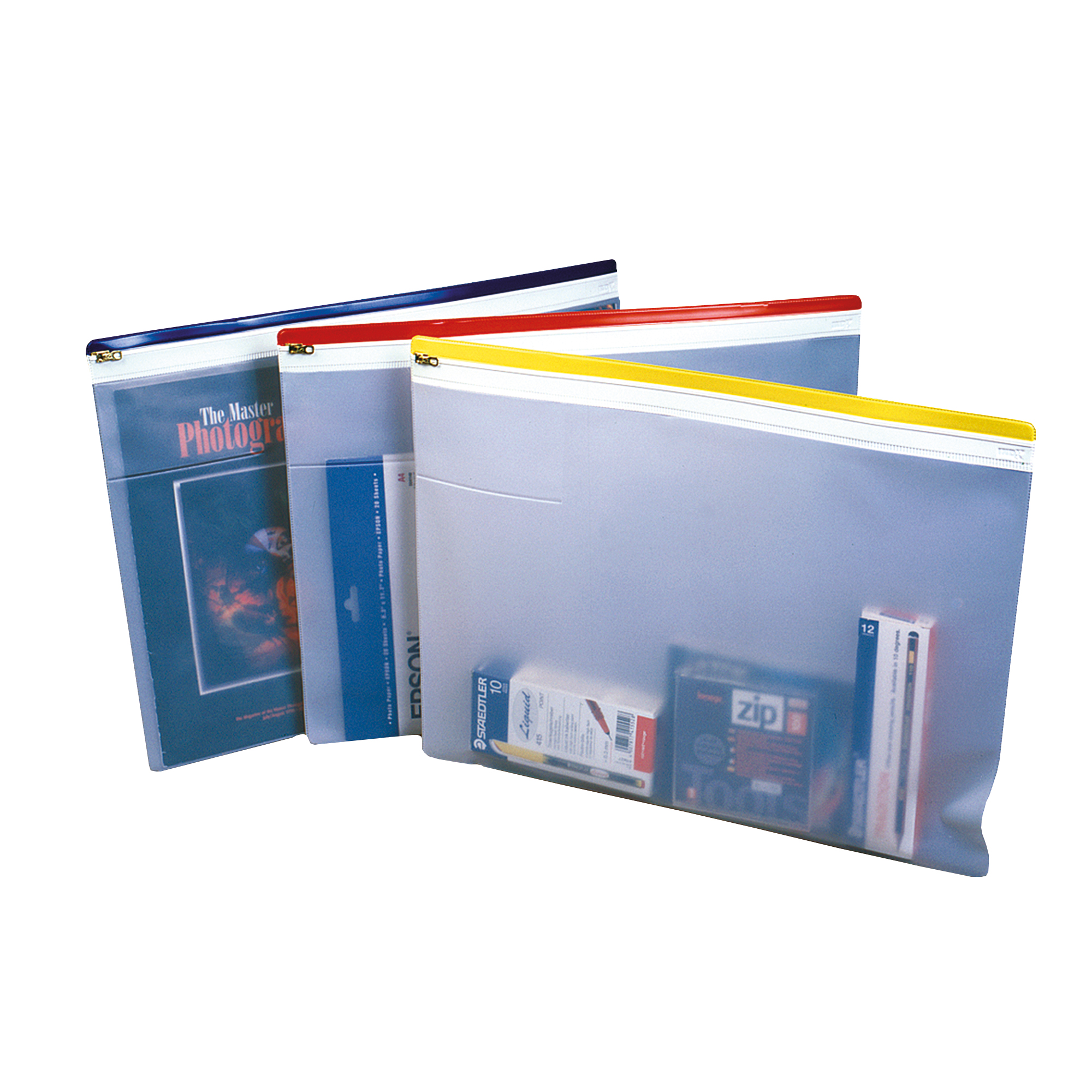 Zip Bags Zip Pouch Heavy-duty PVC Clear with Coloured Seal A4 Assorted Pack 10