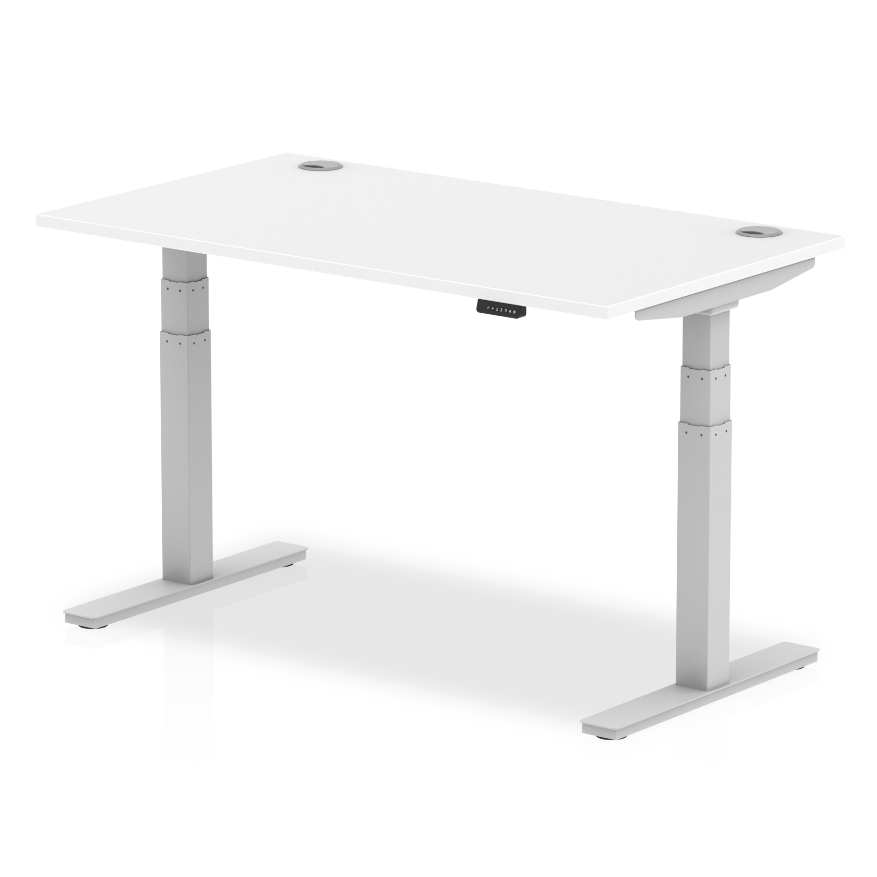 Trexus Sit Stand Desk With Cable Ports Silver Legs 1400x800mm White Ref HA01090