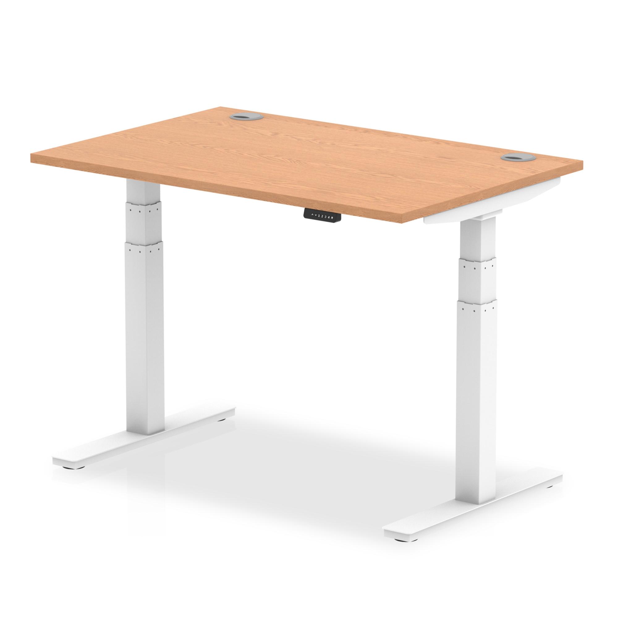 Trexus Sit Stand Desk With Cable Ports White Legs 1200x800mm Oak Ref HA01117