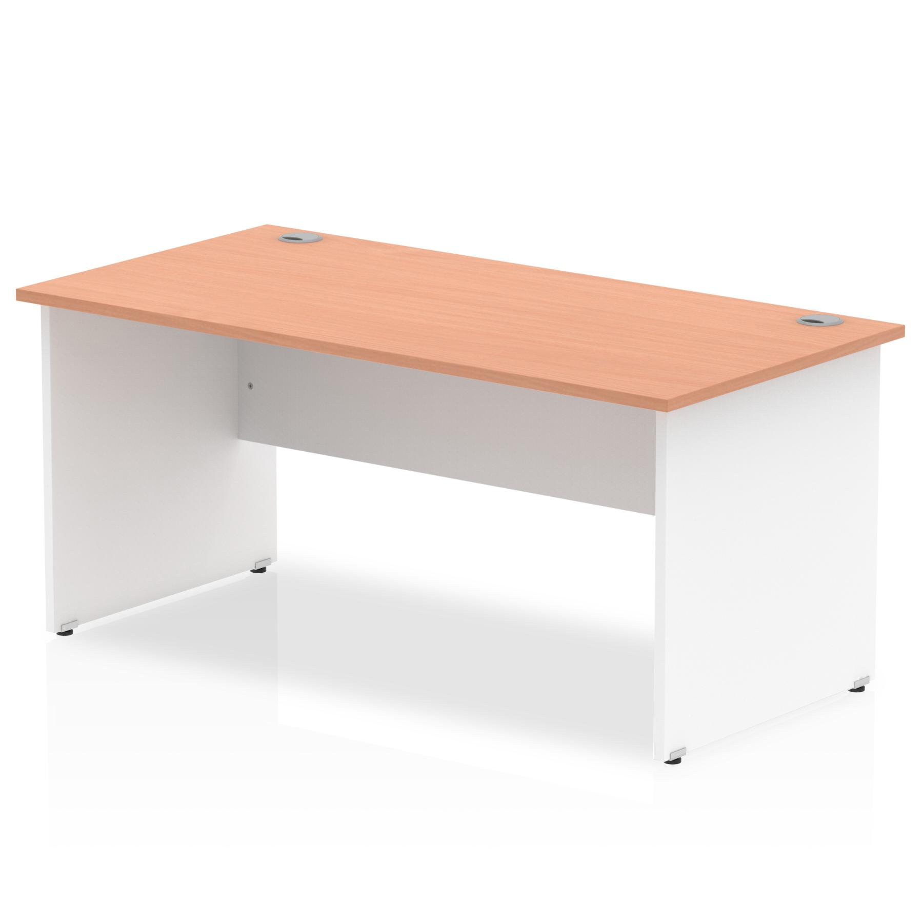 Trexus Desk Rectangle Panel End 1600x800mm Beech Top White Panels Ref TT000015