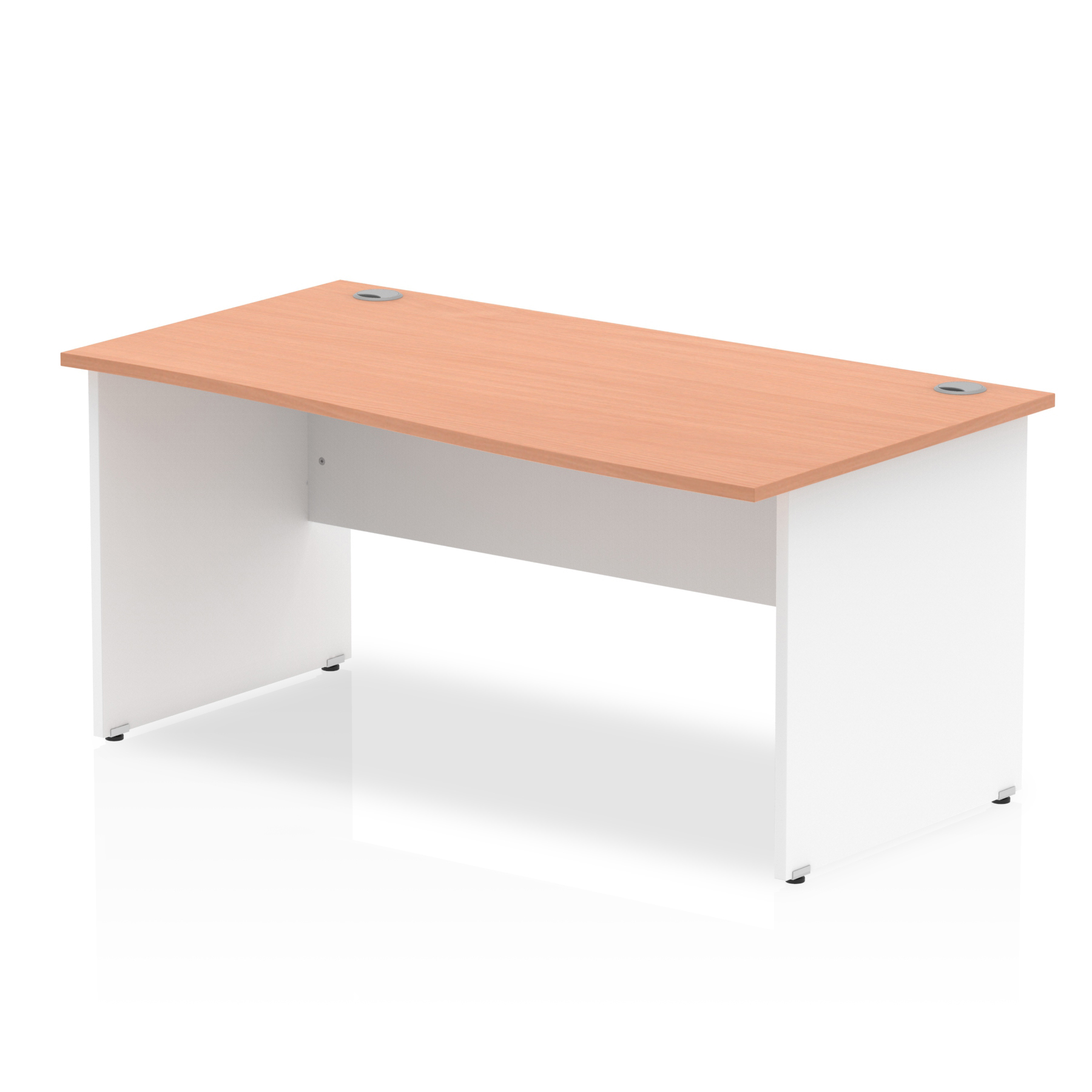 Trexus Desk Wave Right Hand Panel End 1600x800mm Beech Top White Panels Ref TT000069