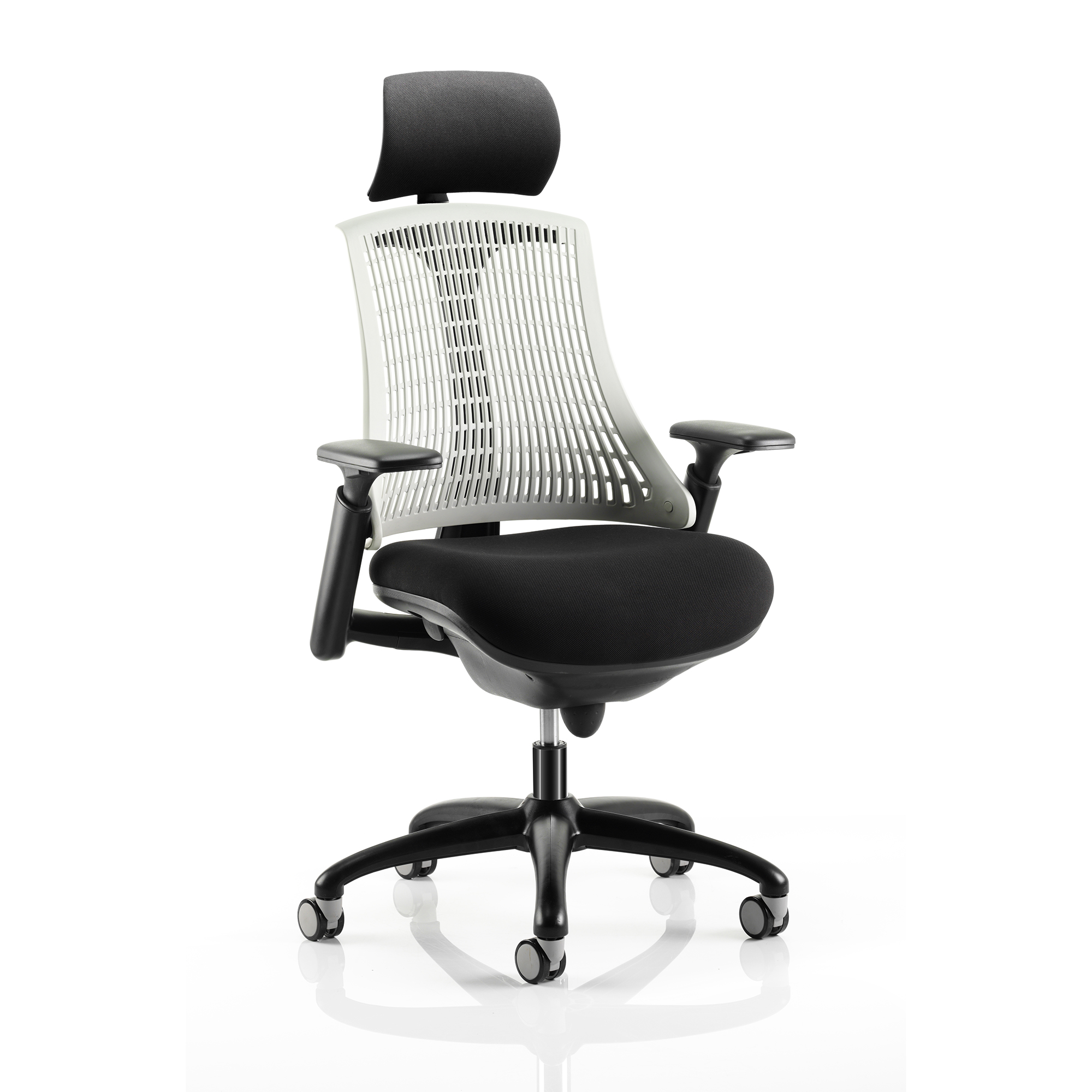 Guest seating Trexus Flex Task Operator Chair With Arms And Headrest Blk Fabric Seat MstoneWhtBack Blk Frame Ref KC0104