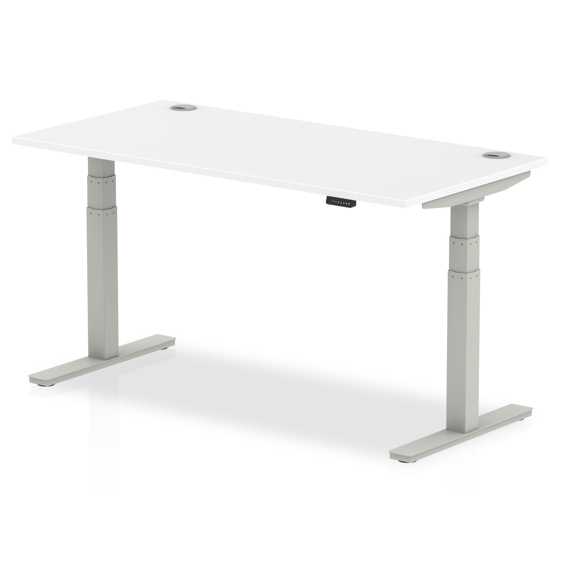 Trexus Sit Stand Desk With Cable Ports Silver Legs 1600x800mm White Ref HA01091