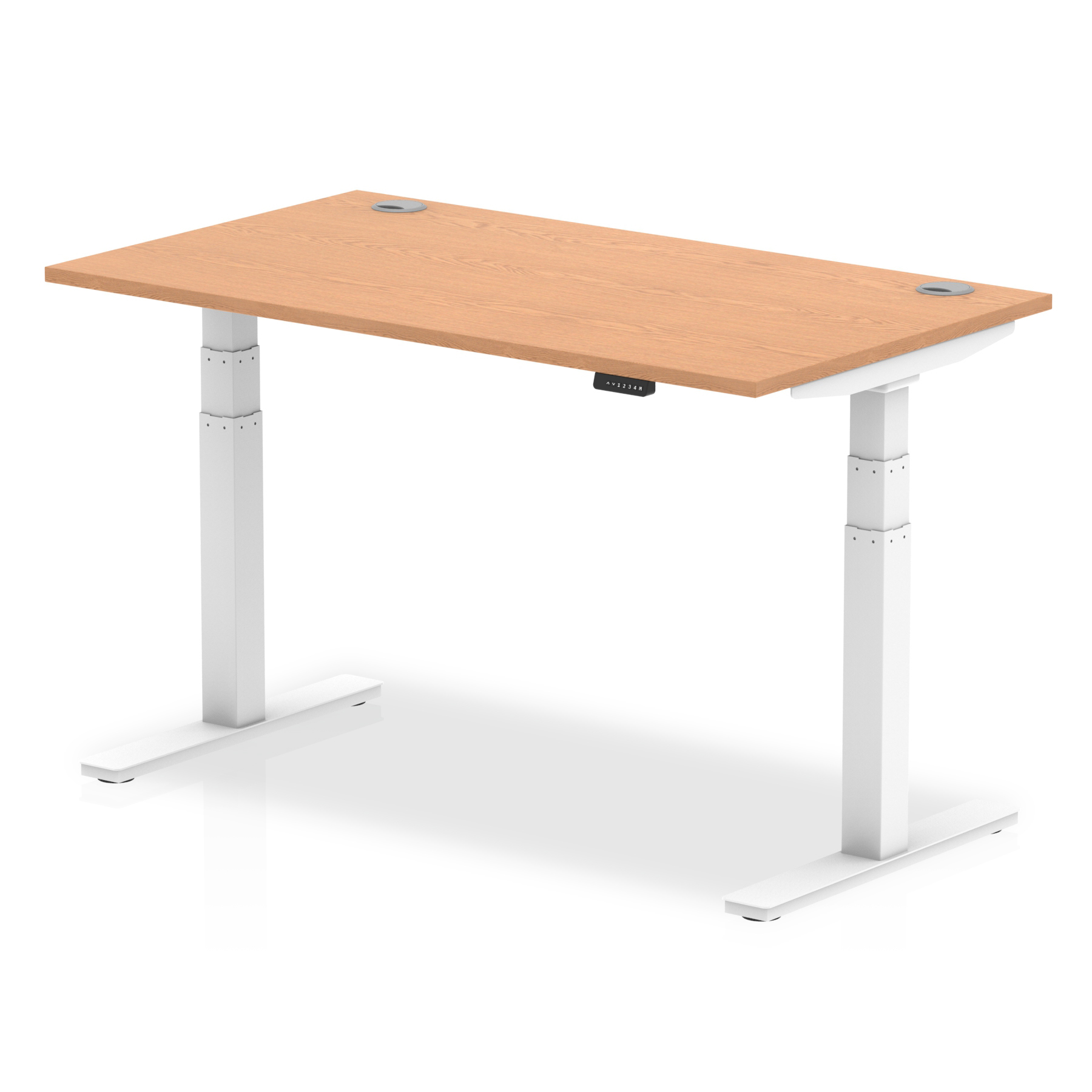 Trexus Sit Stand Desk With Cable Ports White Legs 1400x800mm Oak Ref HA01118
