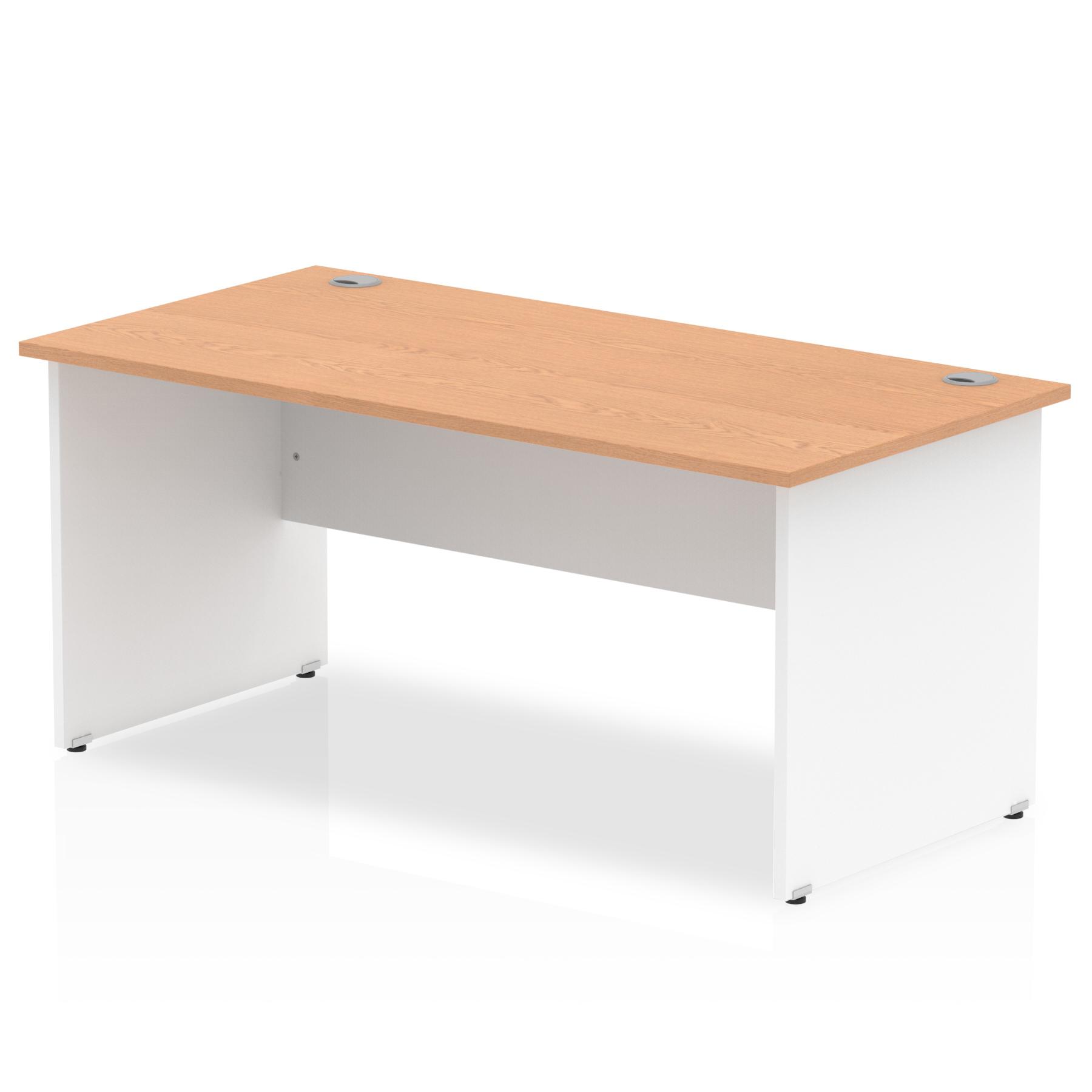Trexus Desk Rectangle Panel End 1600x800mm Oak Top White Panels Ref TT000017