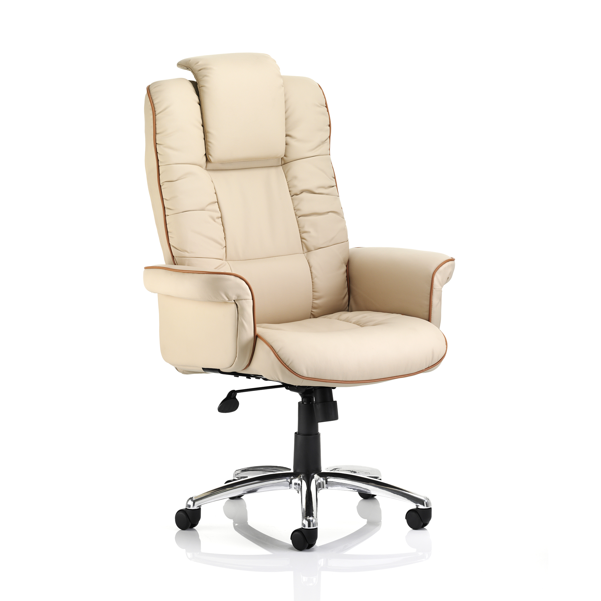 Executive seating Trexus Chelsea Executive Chair With Arms Bonded Leather Cream Ref EX000002