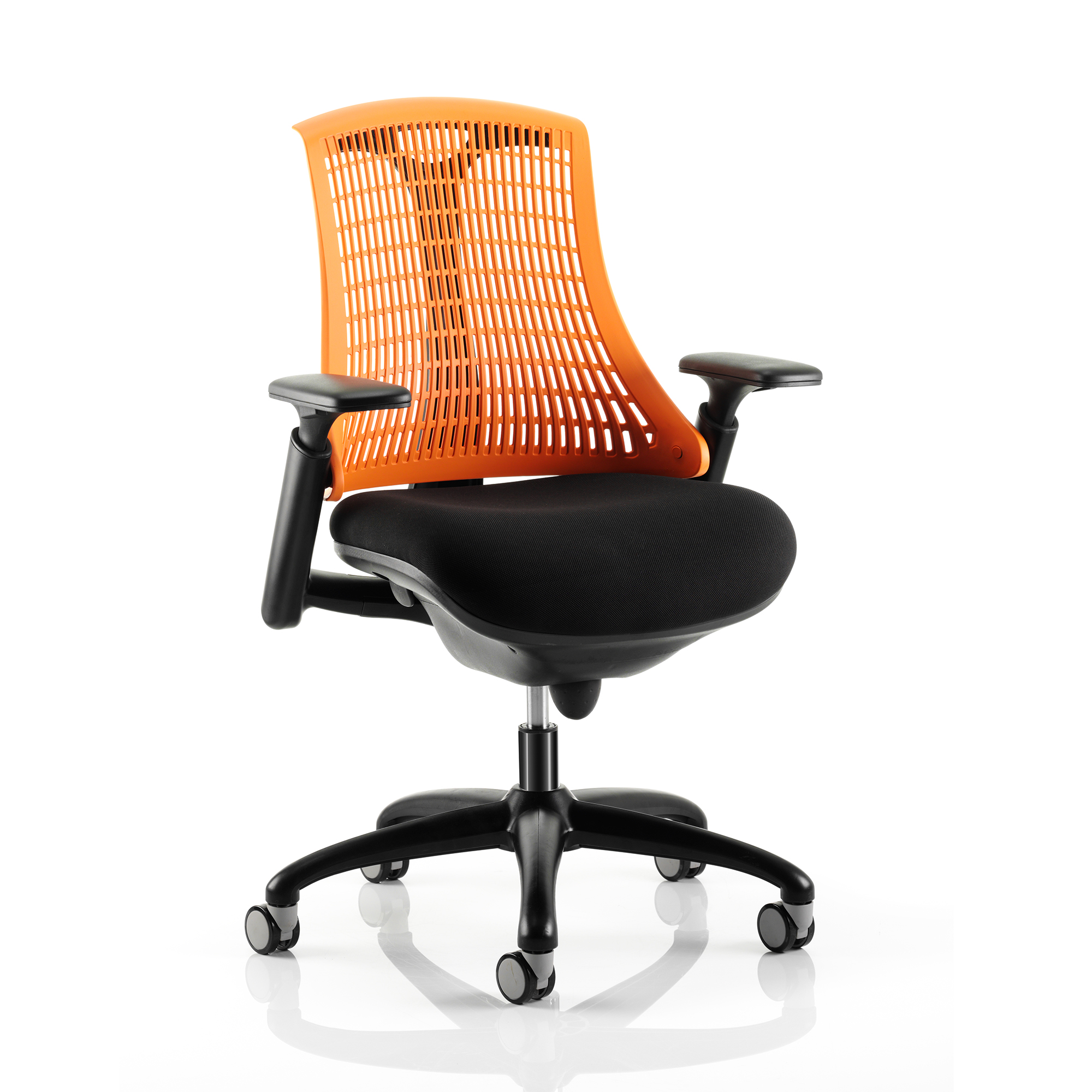 Guest seating Trexus Flex Task Operator Chair With Arms Black Fabric Seat Orange Back Black Frame Ref KC0075