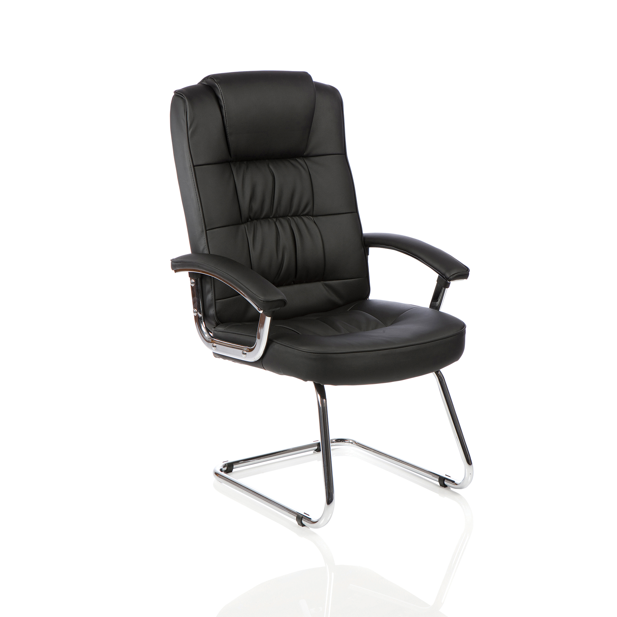 Guest seating Trexus Moore Deluxe Visitor Cantilever Chair With Arms Leather Black Ref KC0152