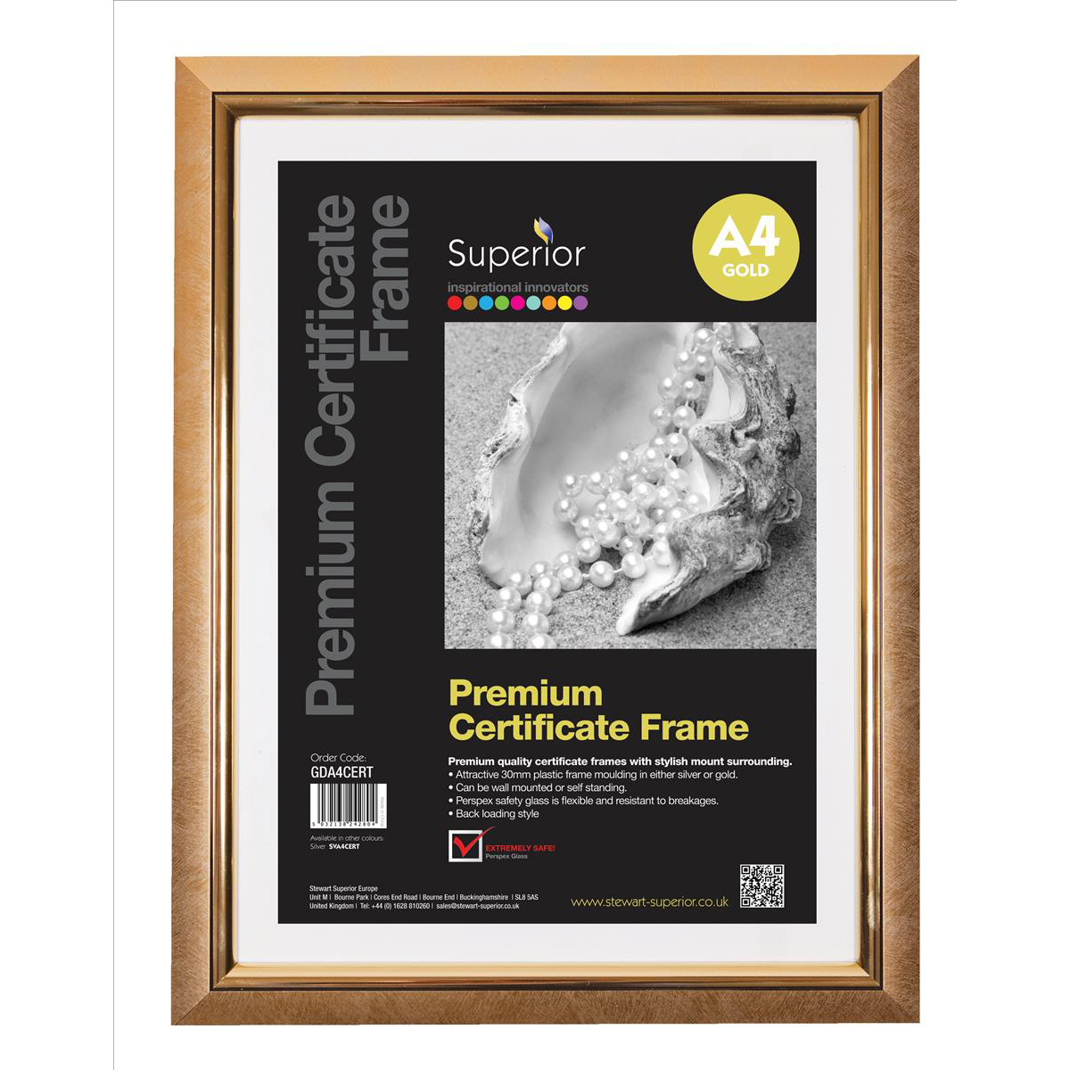 Image for 5 Star Facilities Snap De Luxe Certificate Frame Holds Standard A4 Certificates 260x20x347mm Gold