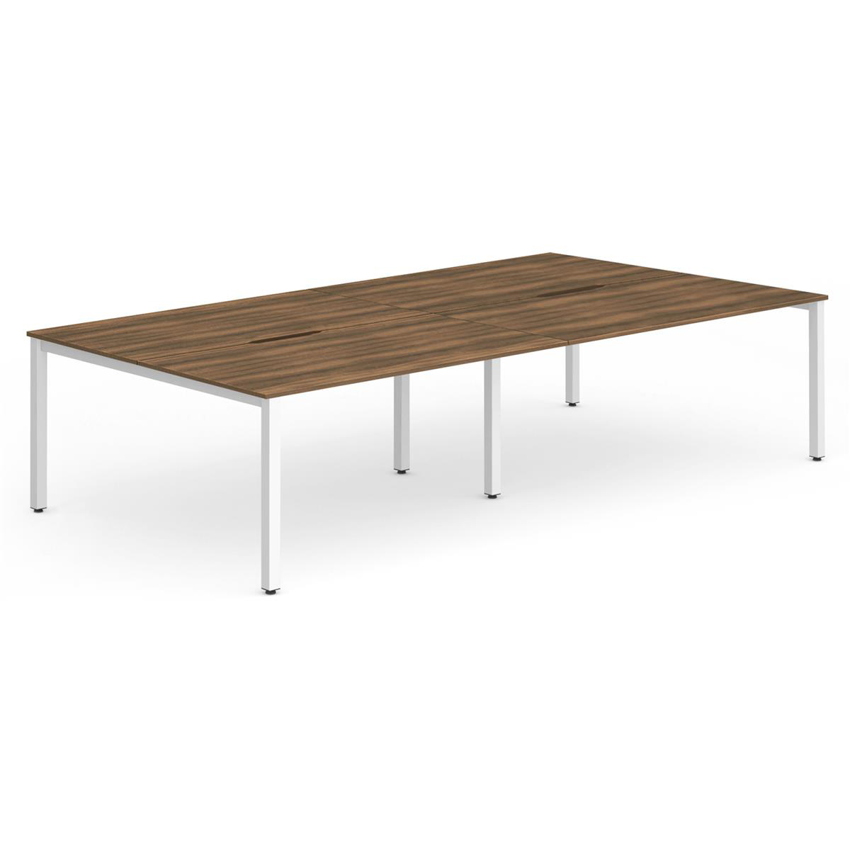 Trexus Bench Desk 4 Person Back to Back Configuration White Leg 3200x1600mm Walnut Ref BE229