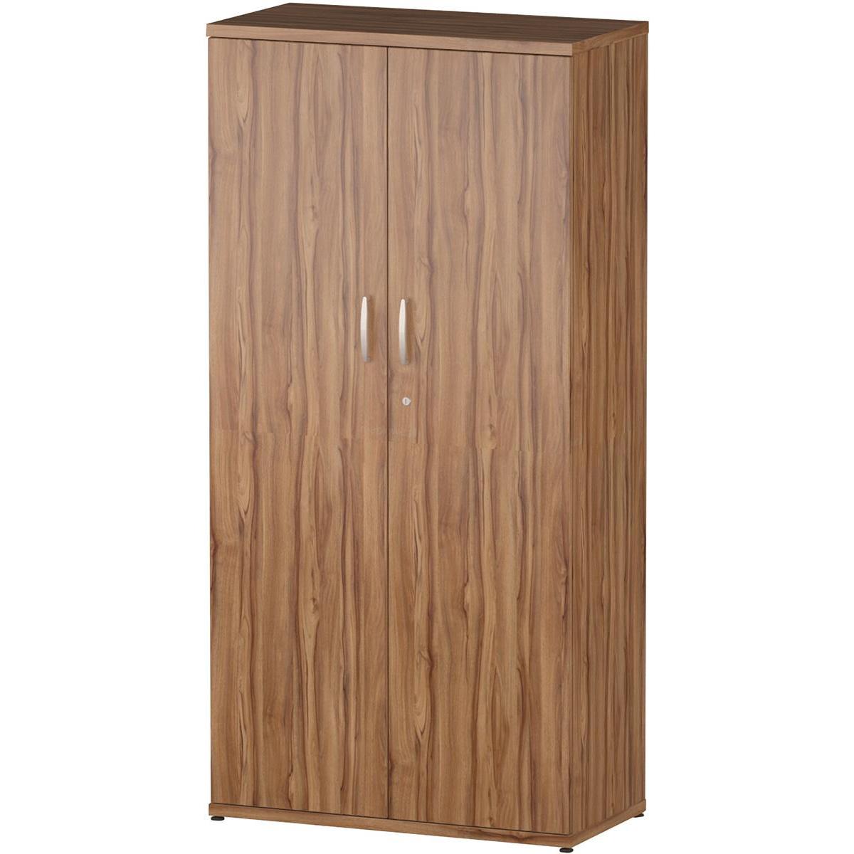 Domestic cupboard Trexus Office High Cupboard 800x400x1600mm 3 Shelves Walnut Ref S00007