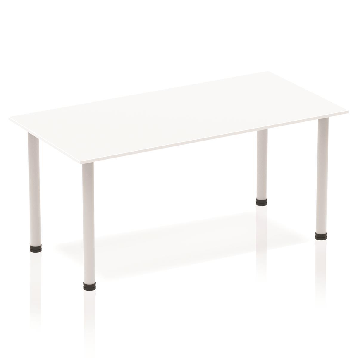 Sonix Rectangular Silver Post Leg Table 1600x800mm White Ref BF00174