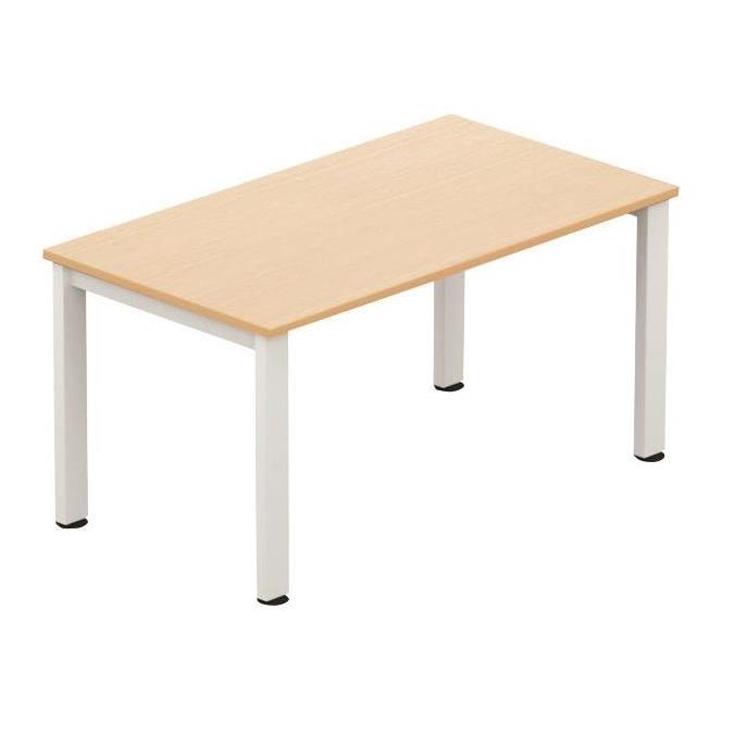 Sonix Meeting Table White legs 1400x800mm Maple Ref fb1408mtmwh