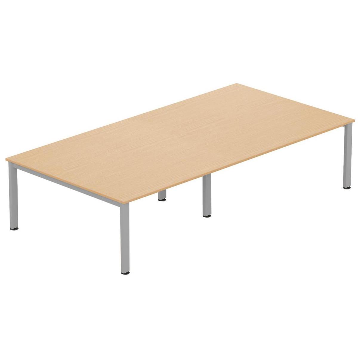 Sonix Meeting Table Silver Legs 3200x1600mm Maple Ref fb3216mtm