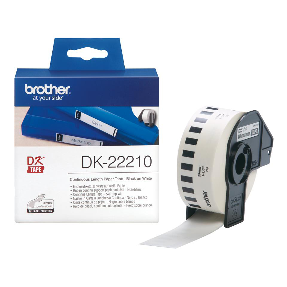 Label making tapes Brother DK22210 Paper Label Roll Tape 29mm Wide Black on White Ref DK22210-1