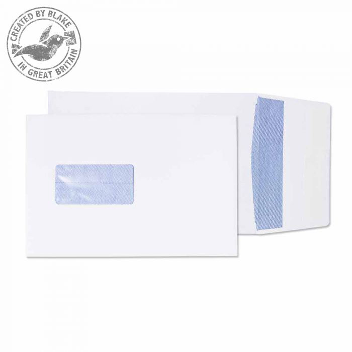 C5 Purely Packaging Envelope Gusset P&S 120gsm C5 Window White Ref 6001 Pack 125 *10 Day Leadtime*