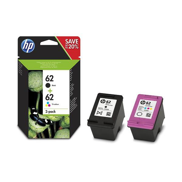 Hewlett Packard [HP] No.62 InkCart Page Life704pp Black 4ml Tri-Colour2052pp 4.5ml Ref N9J71AE [Pack 2]