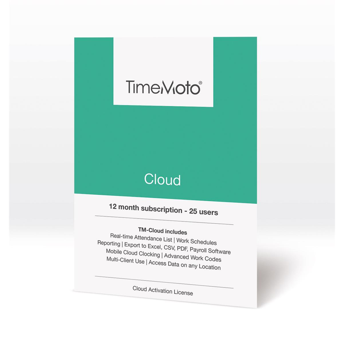 TimeMoto by Safescan Software TM Cloud Essentials for Time & Attendance System 25 Users Ref 139-0590