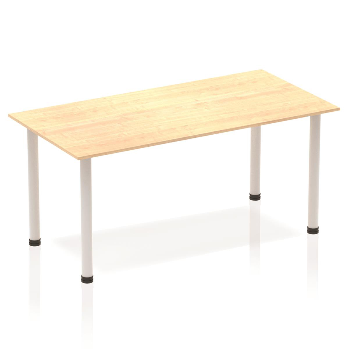 Sonix Rectangular Silver Post Leg Table 1600x800mm Maple Ref BF00192