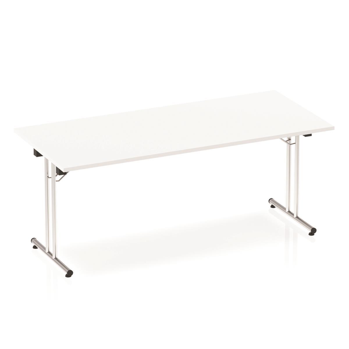 Sonix Rectangular Chrome Leg Folding Meeting Table 1800x800mm White Ref I000710