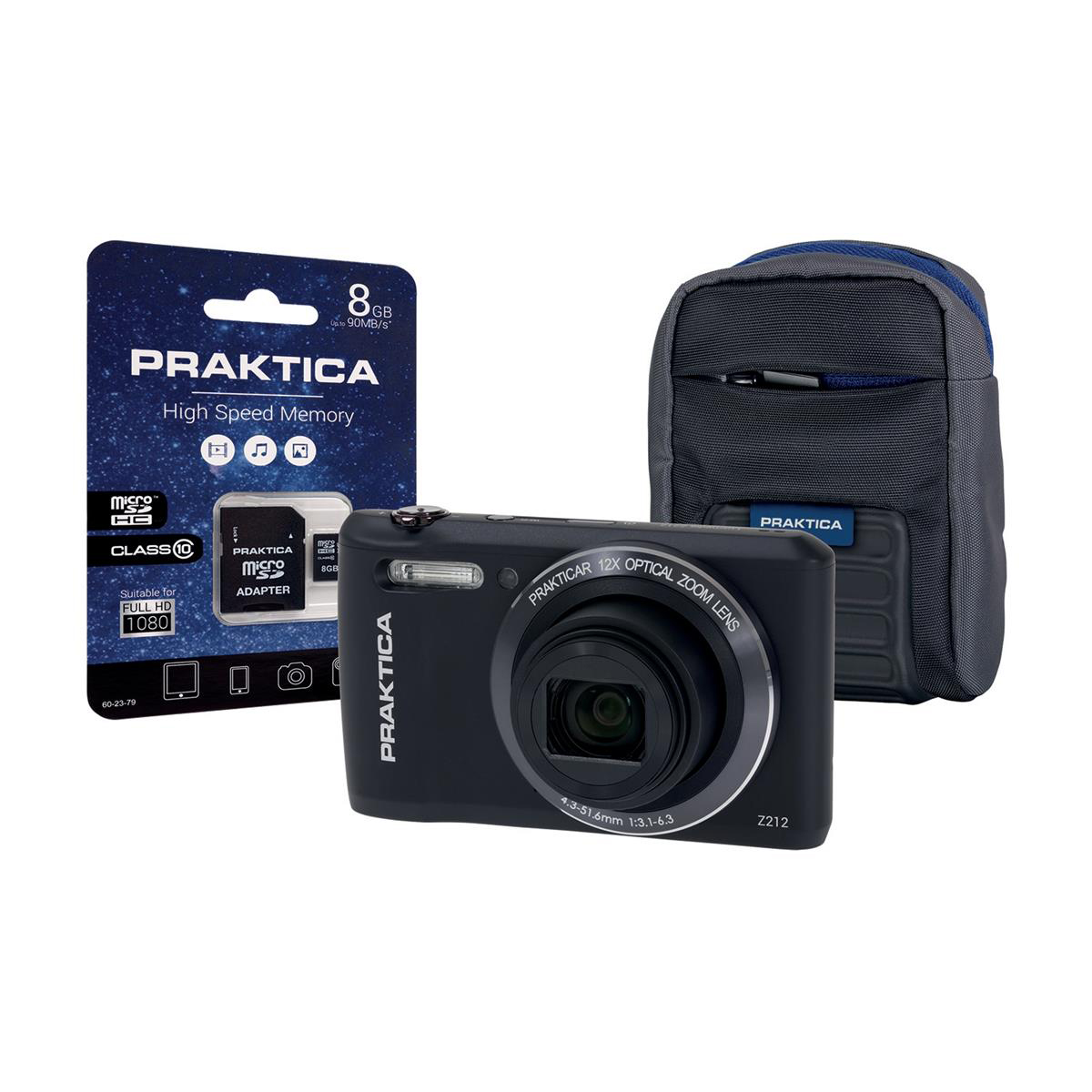 Praktica Z212 Digital Camera Kit Wide 12x Optical Zoom 20MP Case & 8GB SD card Black Ref Z212-BK 8GBCASE