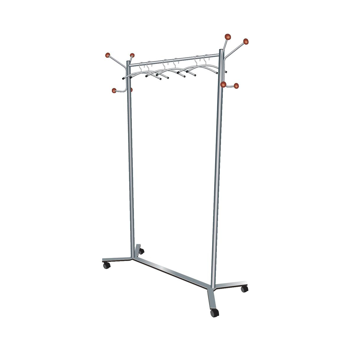 Coat racks 5 Star Facilities Coat Rack Mobile 4 Wheels 4 Pegs 4 Hooks Capacity of 36 Hangers 1200x500x1700mm Silver