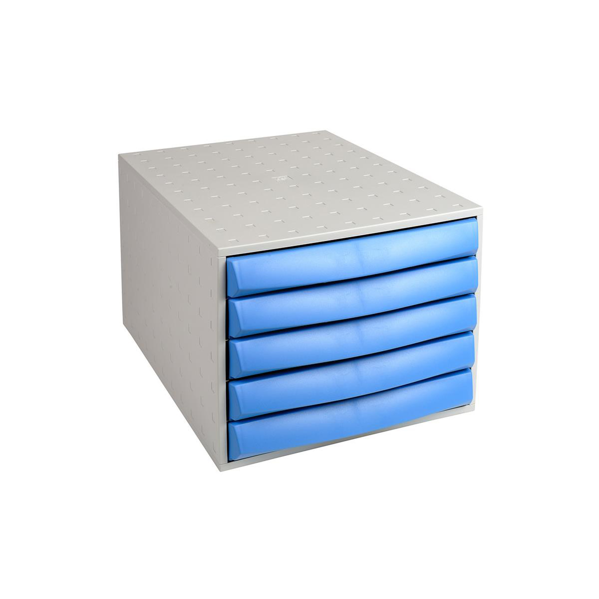 Exacompta Drawer Set Plastic 5 Closed Drawers A4 Plus Grey/Ice Blue