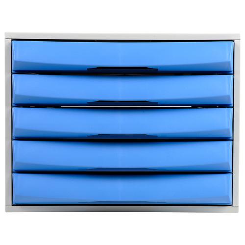 Exacompta Drawer Set Plastic 5 Closed Drawers A4 Plus Grey/Ice Blue