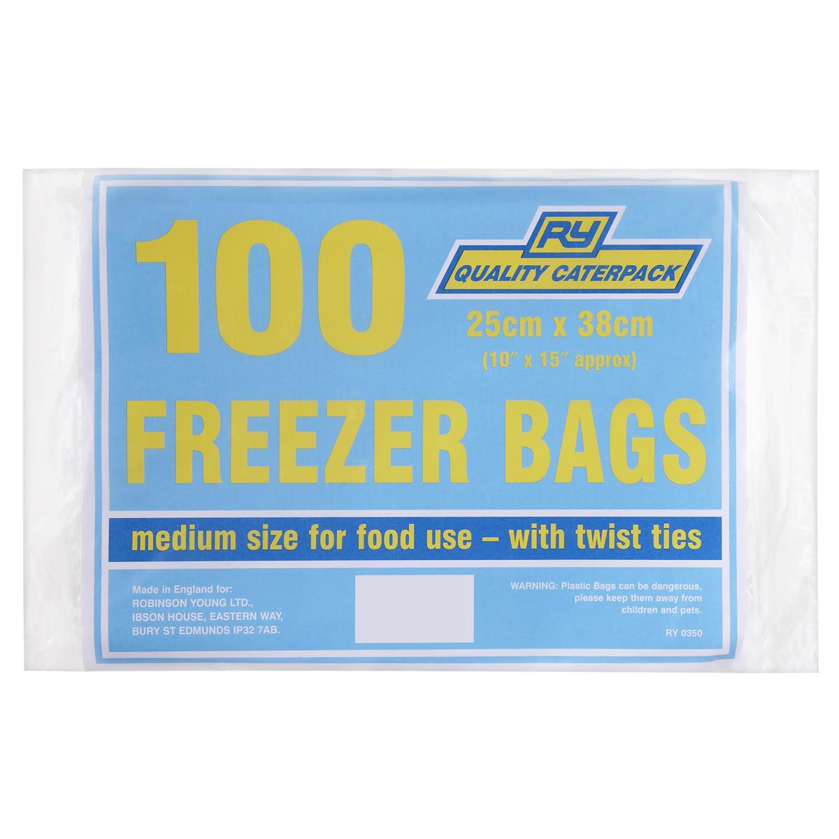 CaterPack Food/Freezer Bags Medium 250mm with Twist Ties Ref 360 Pack 100