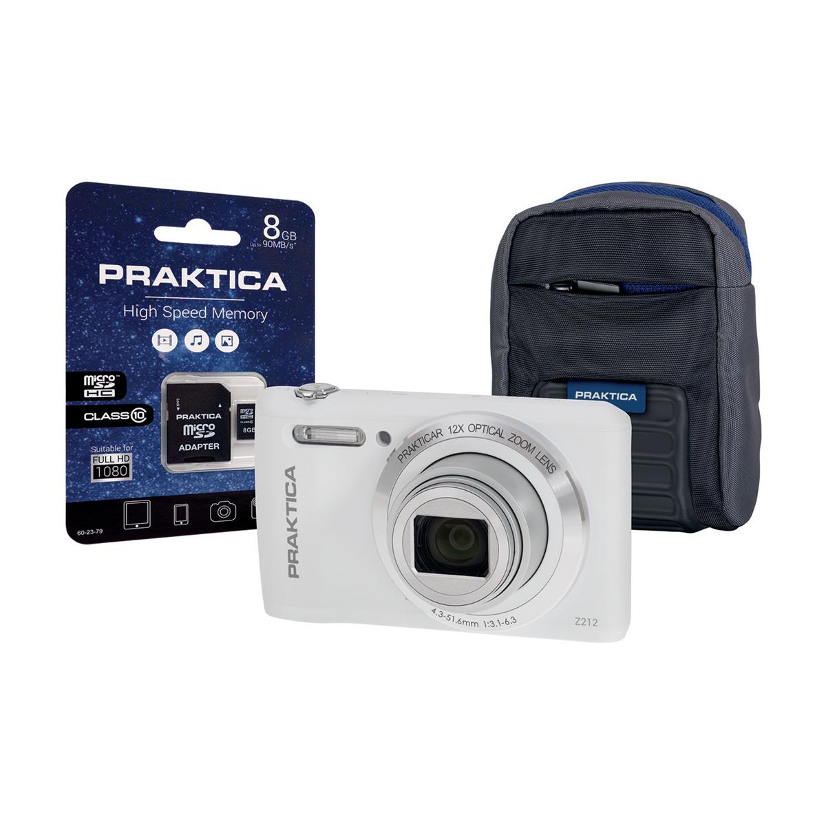 Praktica Z212 Digital Camera Kit Wide 12x Optical Zoom 20MP Case & 8GB SD card White Ref Z212-W 8GBCASE