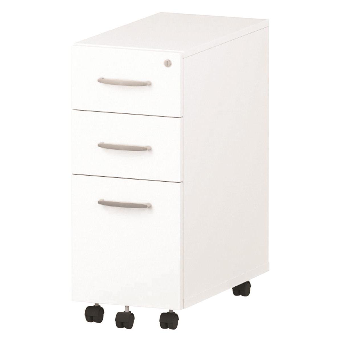 Trexus Tall Narrow Mobile Pedestal 300x550x695mm White Ref I001655