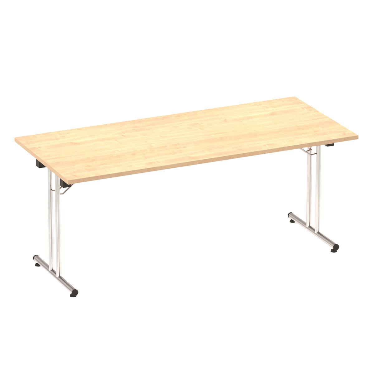 Sonix Rectangular Chrome Leg Folding Meeting Table 1800x800mm Maple Ref I000719
