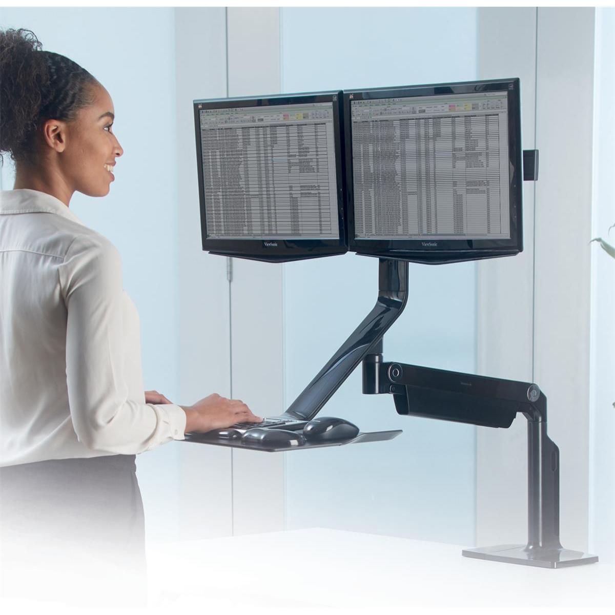 Fellowes Extend Sit-Stand Workstation Dual Monitor Attachment 1016mm Radius Black Ref 9801