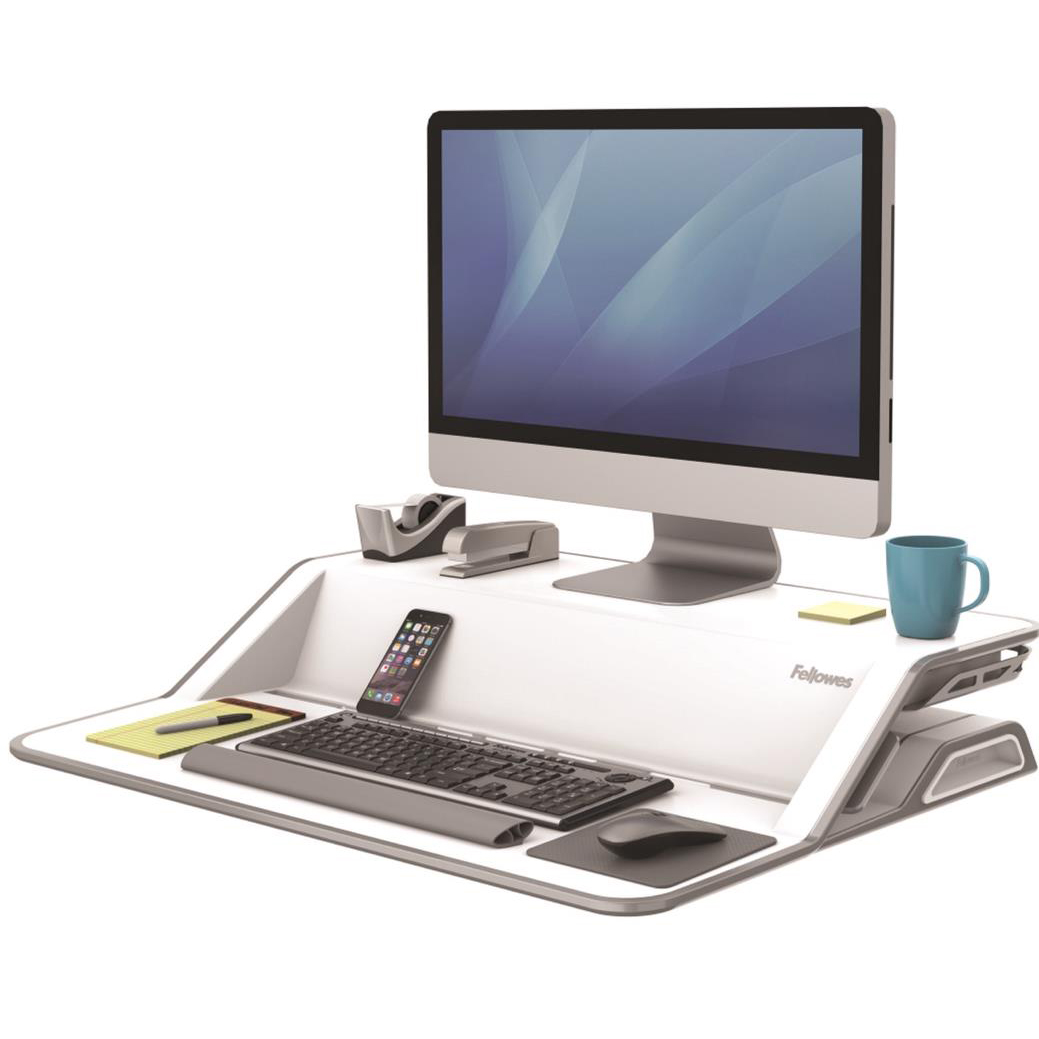 Fellowes Lotus Sit-Stand Workstation Lift Technology 22 Height Adjustments White Ref 9901 REDEMPTION