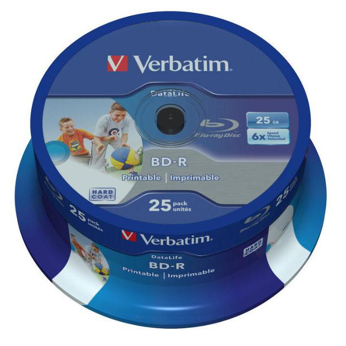Verbatim BD-R Recordable Blu-Ray Discs Inkjet Printable 25GB Ref 43811 Pack 25