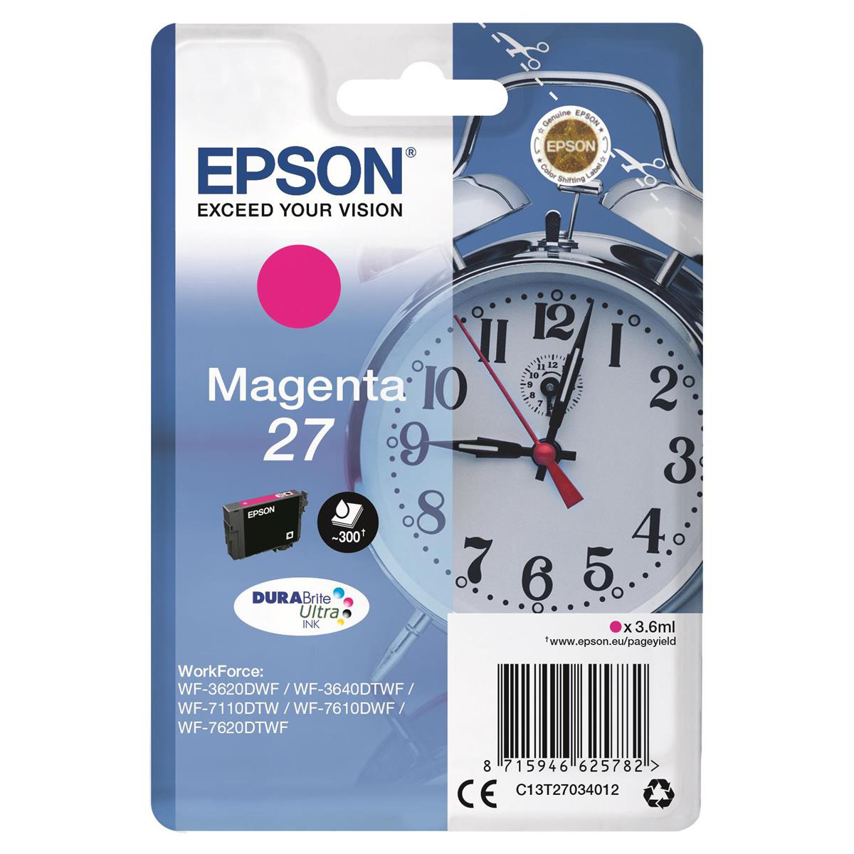 Inkjet Cartridges Epson 27 Inkjet Cartridge Alarm Clock Page Life 300pp 3.6ml Magenta Ref C13T27034012