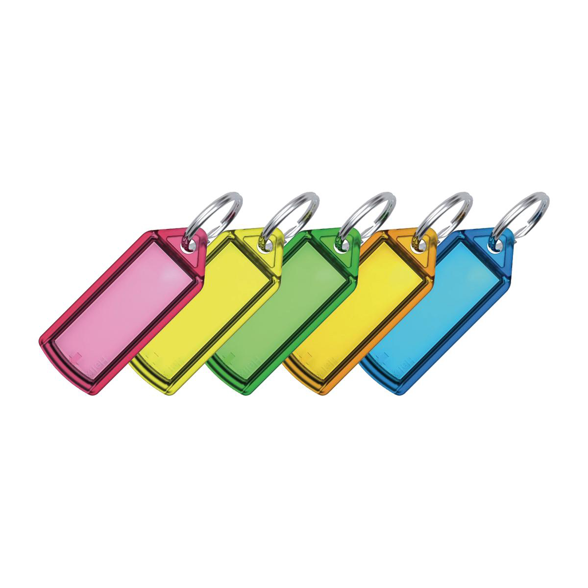 Key Rings 5 Star Facilities Sliding Key Fob Coloured Label Area 38x22mm 20mm Ring Assorted Pack 100