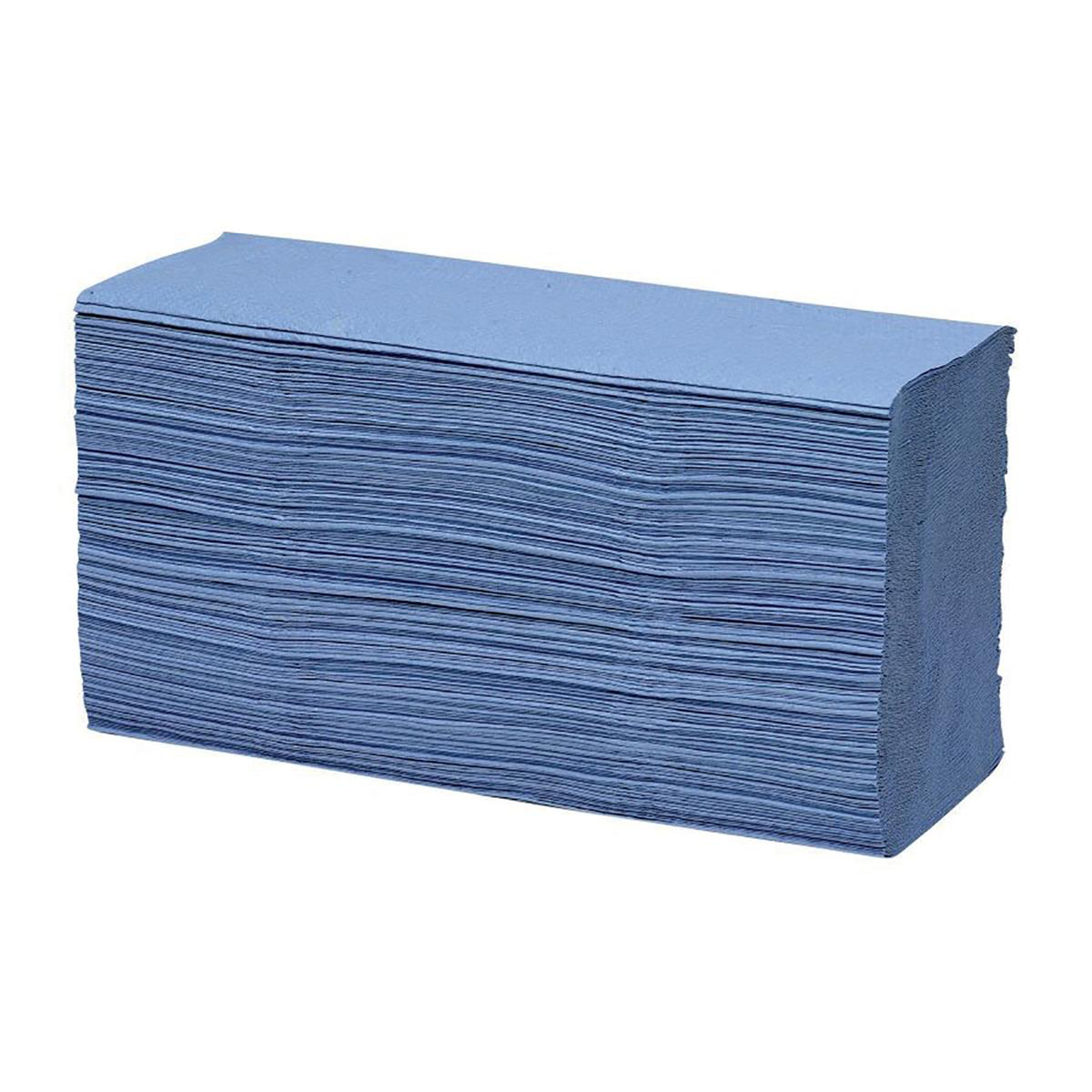 Maxima Hand Towels Z-Fold Blue 1-Ply 100% recycled 200 Sheets Per Sleeve Ref 1104063 [15 Sleeves]