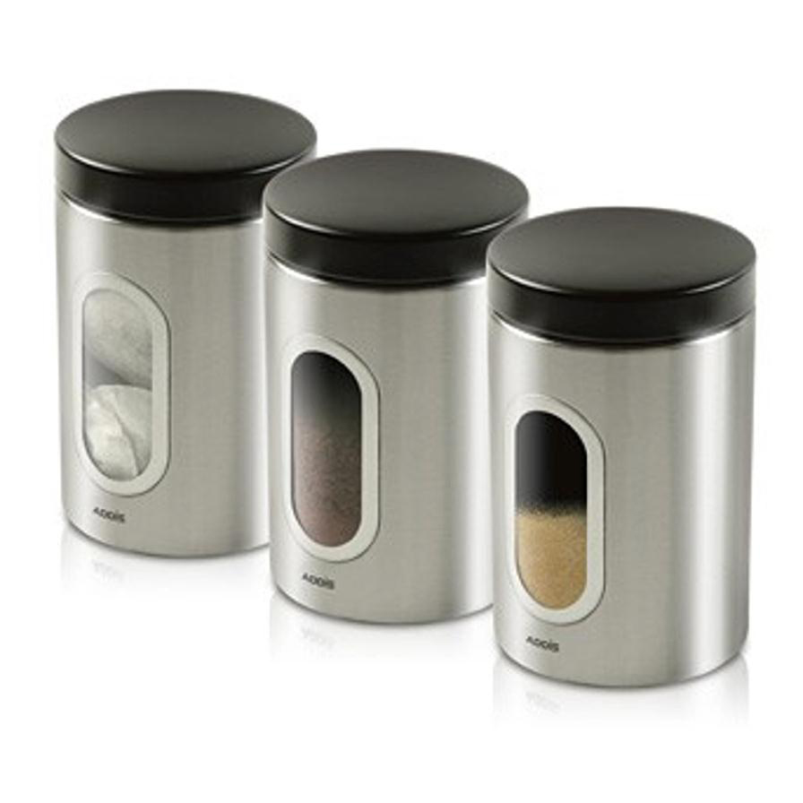 Tea / Coffee / Sugar Storage Addis Stainless Steel Canisters Airtight Windowed Ref 508453