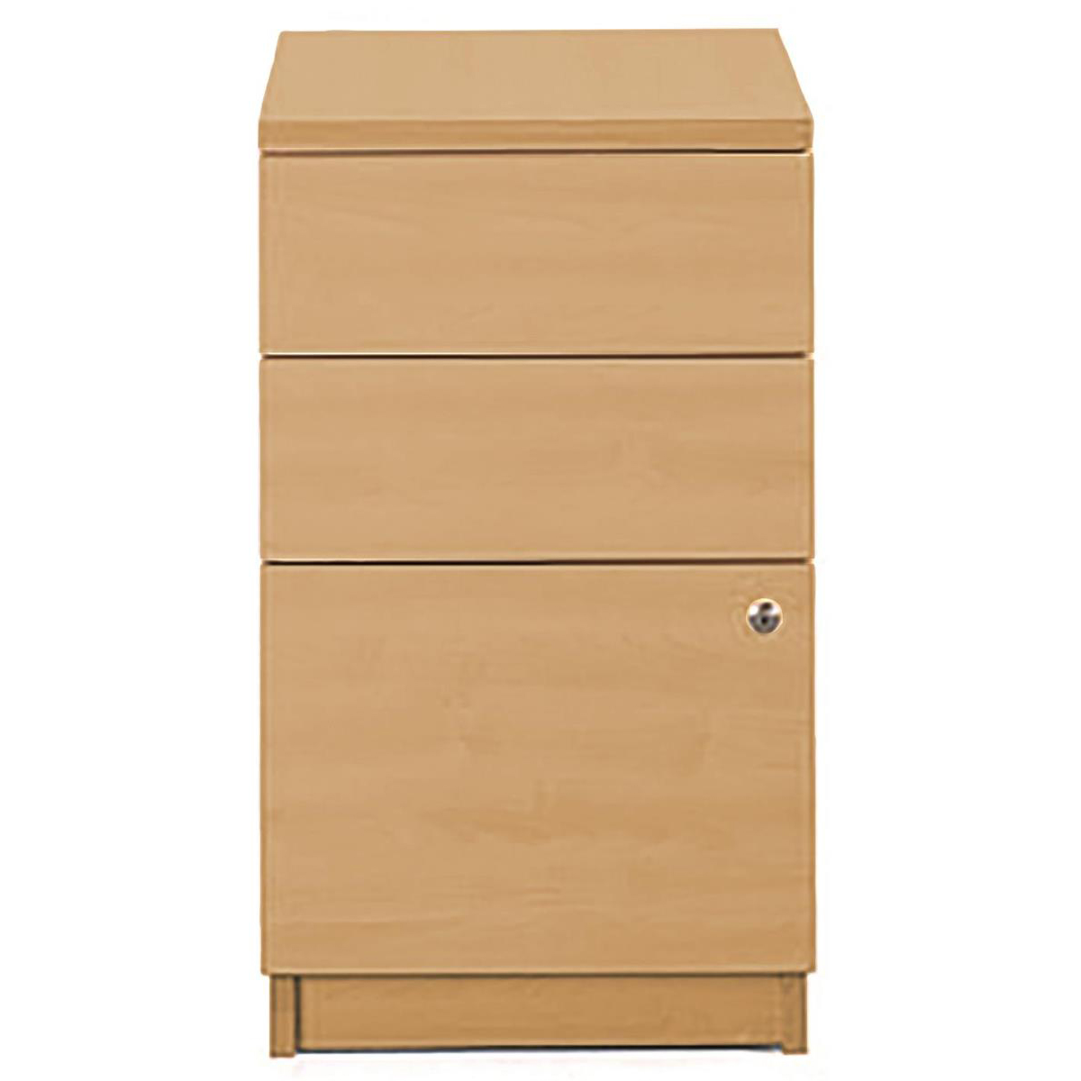 Sonix Desk High 3 Drawer 600D Pedestal 430x600x730mm Rich Beech Ref w9681b