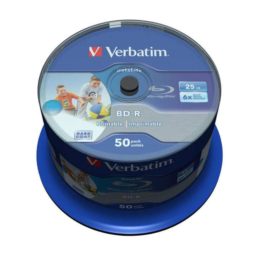 Verbatim BD-R Recordable Blu-Ray Discs Inkjet Printable 25GB Ref 43812 Pack 50