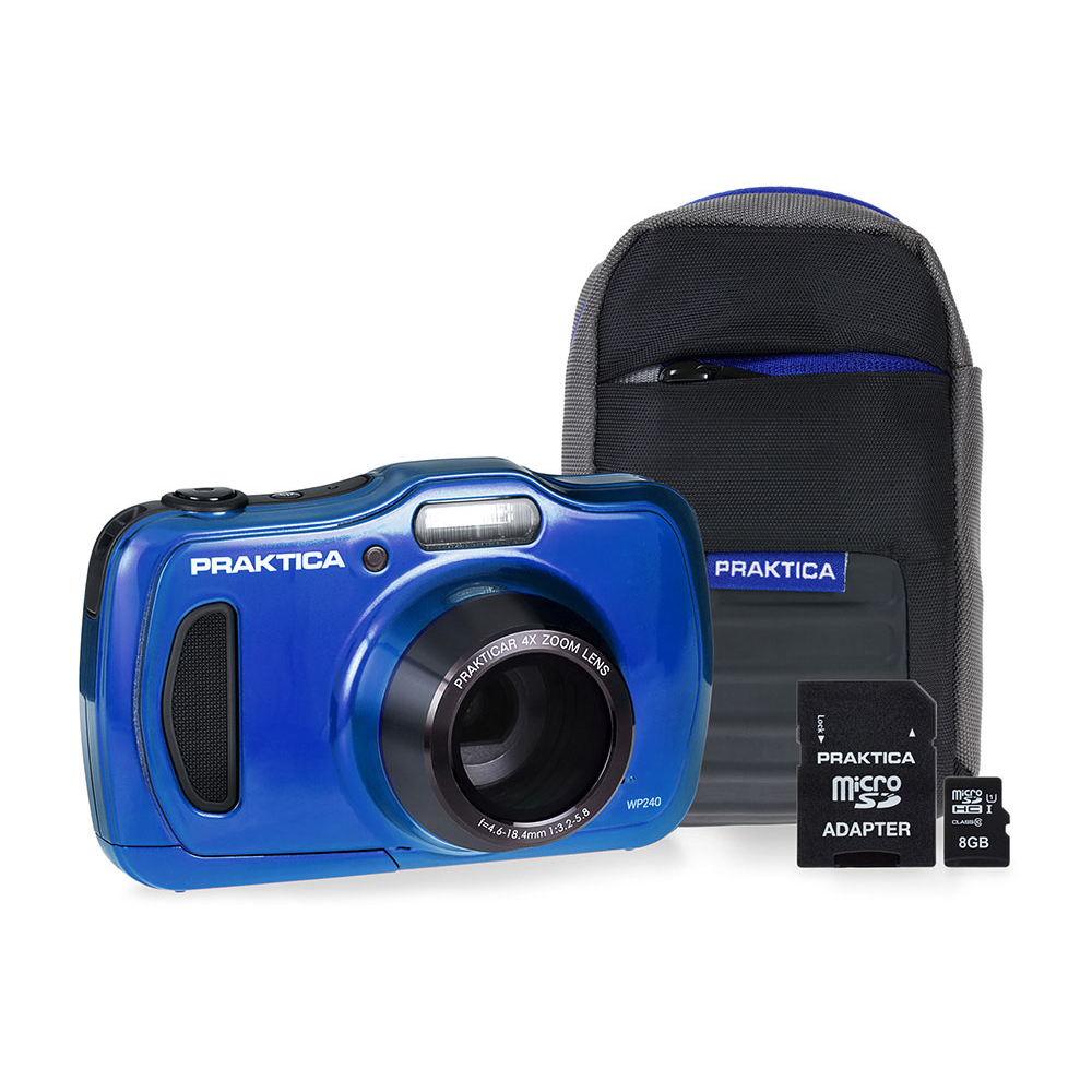 Image for Praktica WP240 Waterproof 20MP Camera Kit 2.7in LCD 4x Optical Zoom Case 8GB SD Card Blue Ref P240-BL