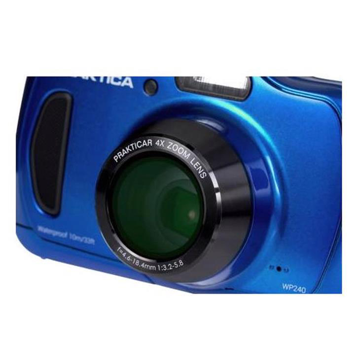 Praktica WP240 Waterproof 20MP Camera Kit 2.7in LCD 4x Optical Zoom Case 8GB SD Card Blue Ref P240-BL