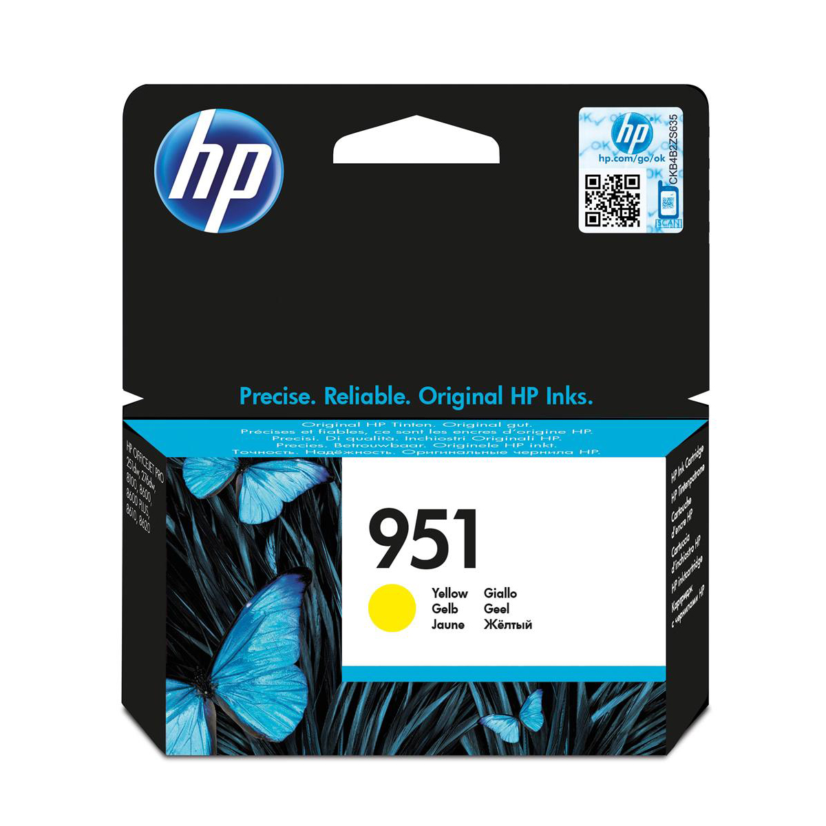 Hewlett Packard[HP] No.951 Inkjet Cartridge Page Life 700pp Capacity 8ml Yellow CN052AE