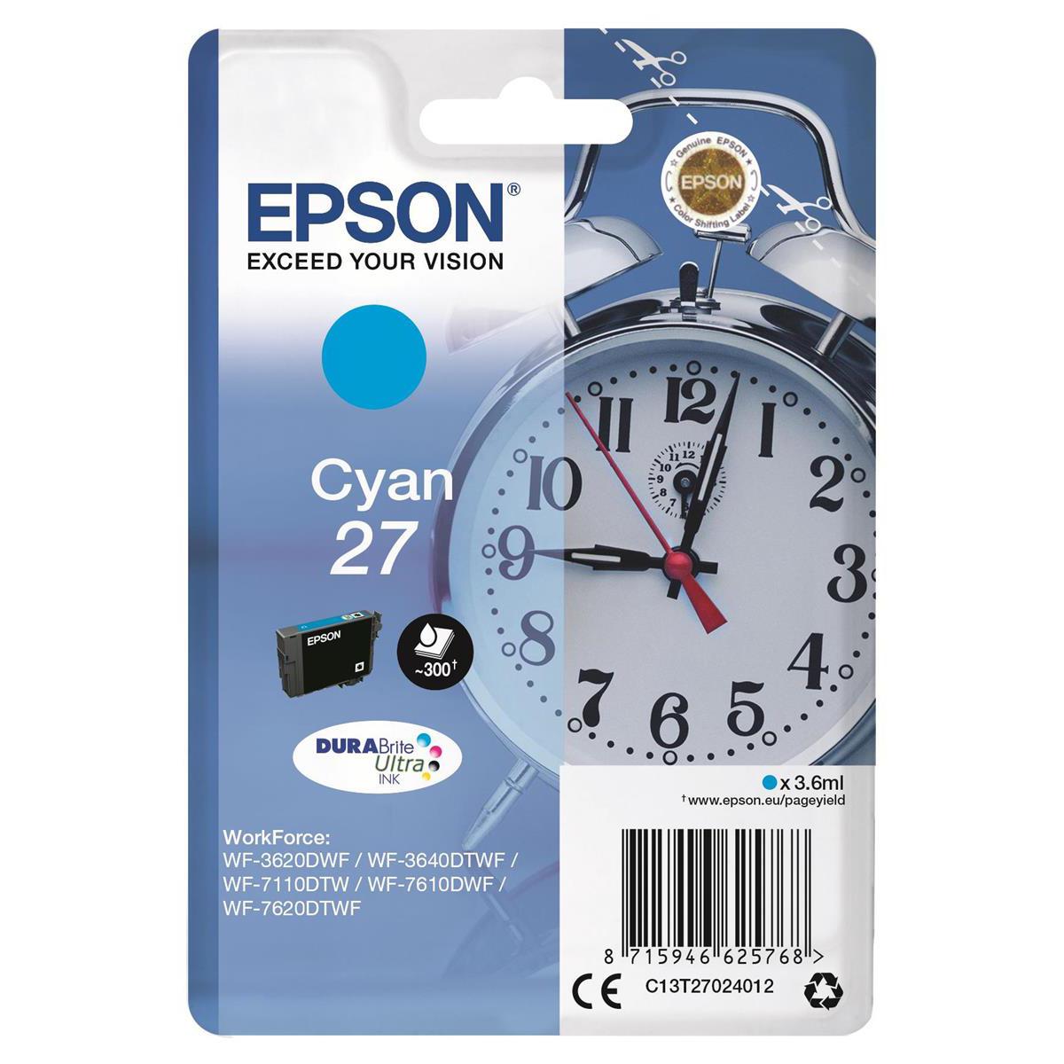 Inkjet Cartridges Epson 27 Inkjet Cartridge Alarm Clock Page Life 300pp 3.6ml Cyan Ref C13T27024012