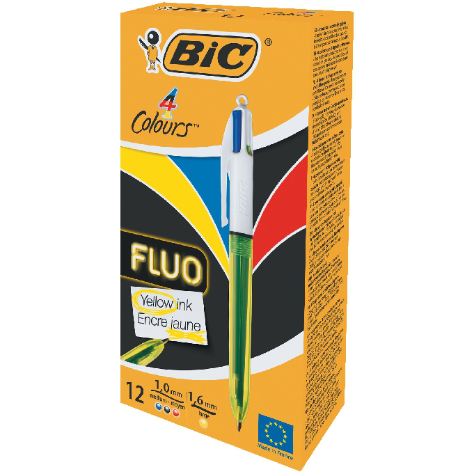 Bic 4 Colour Fluo Retractable Pen Black Blue Red Yellow Ink Ref 933948 [Pack 12] [2 For 1] Jul-Sep 2018