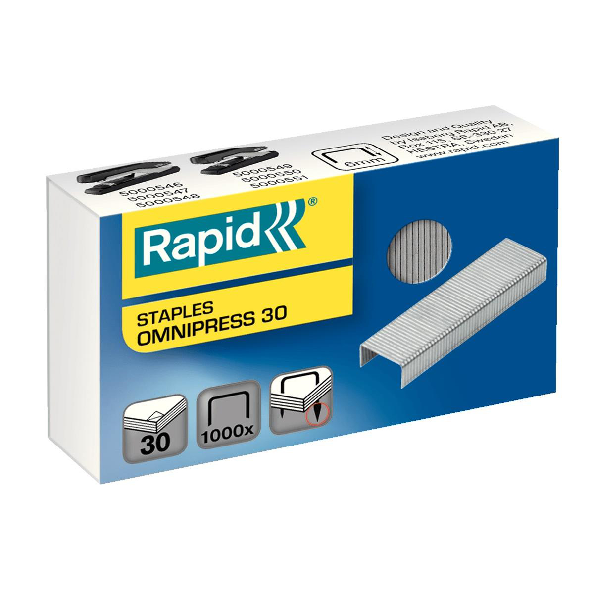 Rapid Omnipress 30 Staples 6mm Ref 5000559 Box of 1000