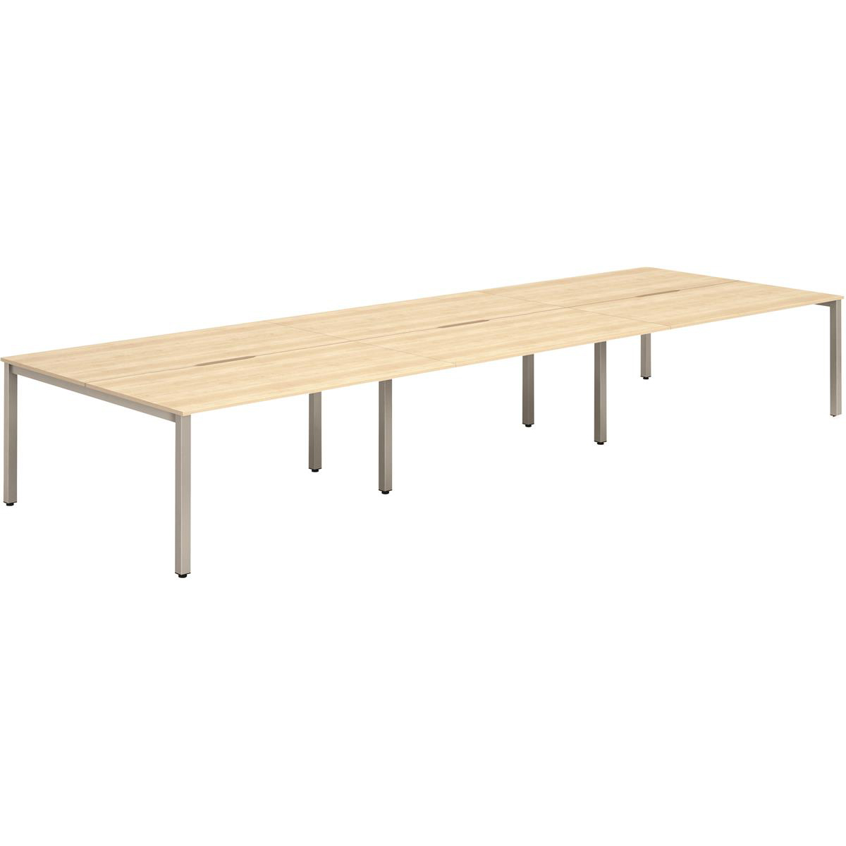 Trexus Bench Desk 6 Person Back to Back Configuration Silver Leg 3600x1600mm Maple Ref BE296